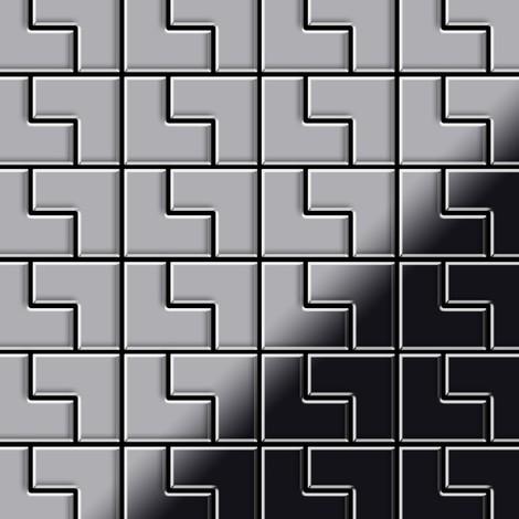Azulejo mosaico de metal sólido Acero inoxidable Marine cepillado gris 1,6 mm de grosor ALLOY Kink-S-S-MB diseñado por Karim Rashid 0,93 m2