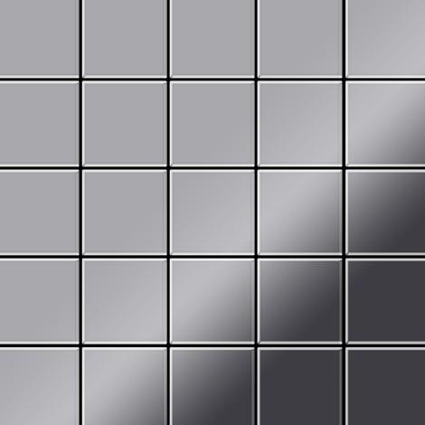Azulejo mosaico de metal sólido Acero inoxidable Marine pulido espejo gris 1,6 mm de grosor ALLOY Century-S-S-MM 0,5 m2