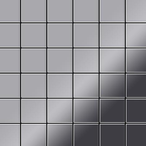 Azulejo mosaico de metal sólido Acero inoxidable pulido espejo gris 1,6 mm de grosor ALLOY Cinquanta-S-S-M 0,94 m2