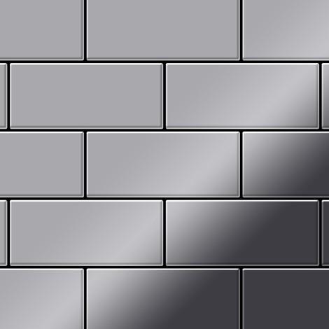 Azulejo mosaico de metal sólido Acero inoxidable pulido espejo gris 1,6 mm de grosor ALLOY Subway-S-S-M 0,58 m2