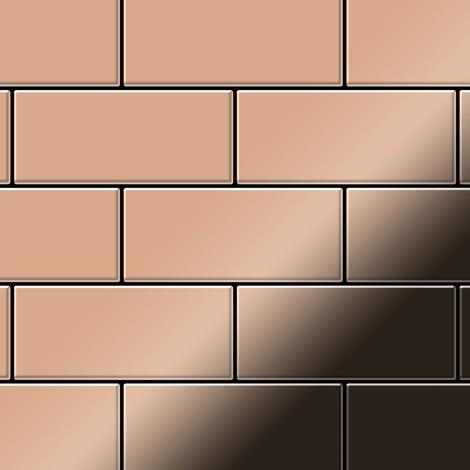 Azulejo mosaico de metal sólido Cobre laminado cobre 1,6 mm de grosor ALLOY Subway-CM 0,58 m2