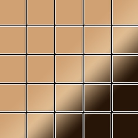 Azulejo mosaico de metal sólido Titanio Amber espejo cobre 1,6 mm de grosor ALLOY Century-Ti-AM 0,5 m2