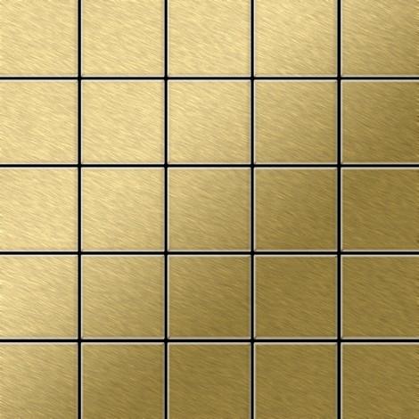Azulejo mosaico de metal sólido Titanio Gold cepillado oro 1,6 mm de grosor ALLOY Century-Ti-GB 0,5 m2