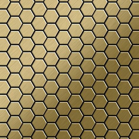 Azulejo mosaico de metal sólido Titanio Gold cepillado oro 1,6 mm de grosor ALLOY Honey-Ti-GB 0,92 m2