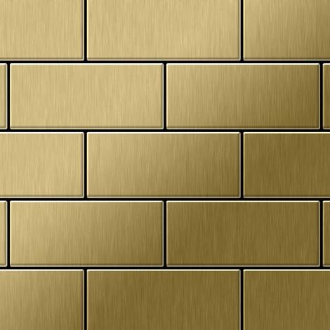 Azulejo mosaico de metal sólido Titanio Gold cepillado oro 1,6 mm de grosor ALLOY Subway-Ti-GB 0,58 m2