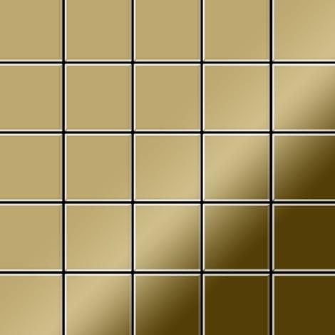 Azulejo mosaico de metal sólido Titanio Gold espejo oro 1,6 mm de grosor ALLOY Century-Ti-GM 0,5 m2
