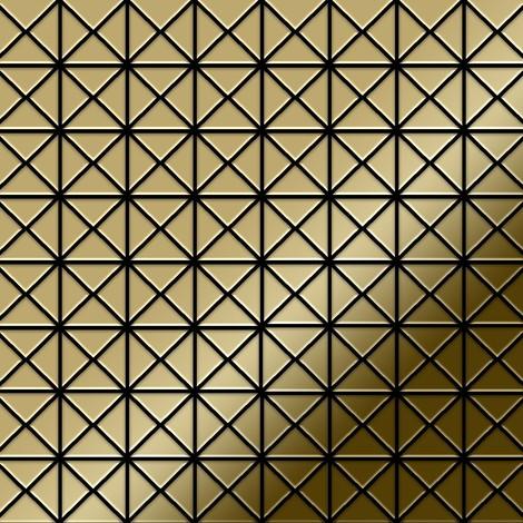 Azulejo mosaico de metal sólido Titanio Gold espejo oro 1,6 mm de grosor ALLOY Deco-Ti-GM 0,92 m2