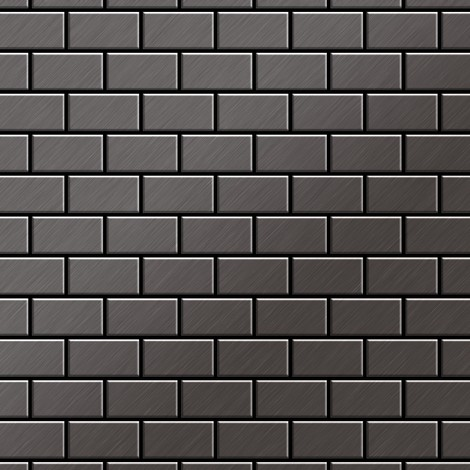 Azulejo mosaico de metal sólido Titanio Smoke cepillado gris oscuro 1,6 mm de grosor ALLOY House-Ti-SB 0,98 m2