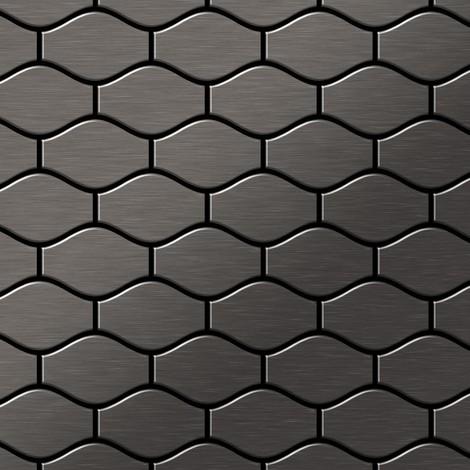 Azulejo mosaico de metal sólido Titanio Smoke cepillado gris oscuro 1,6 mm de grosor ALLOY Karma-Ti-SB diseñado por Karim Rashid 0,86 m2