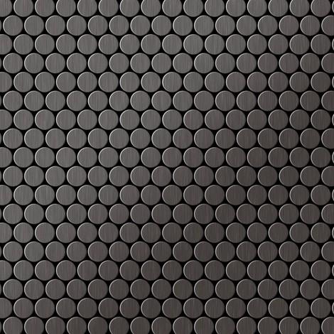 Azulejo mosaico de metal sólido Titanio Smoke cepillado gris oscuro 1,6 mm de grosor ALLOY Penny-Ti-SB 0,88 m2