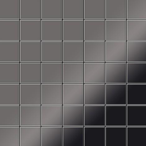 Azulejo mosaico de metal sólido Titanio Smoke espejo gris oscuro 1,6 mm de grosor ALLOY Attica-Ti-SM 0,85 m2