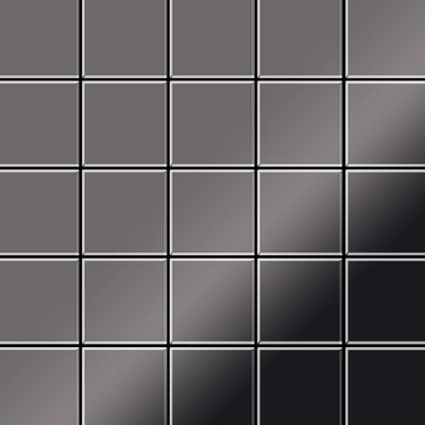 Azulejo mosaico de metal sólido Titanio Smoke espejo gris oscuro 1,6 mm de grosor ALLOY Century-Ti-SM 0,5 m2