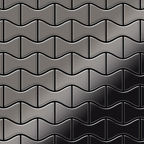Azulejo mosaico de metal sólido Titanio Smoke espejo gris oscuro 1,6 mm de grosor ALLOY Kismet-Ti-SM diseñado por Karim Rashid 0,86 m2