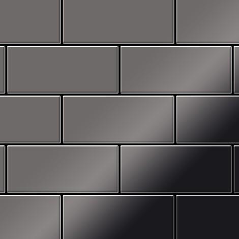 Azulejo mosaico de metal sólido Titanio Smoke espejo gris oscuro 1,6 mm de grosor ALLOY Subway-Ti-SM 0,58 m2