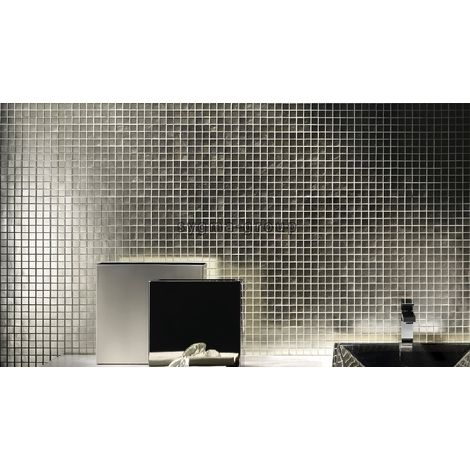 Azulejo mosaico de vidrio plateado para pared mv-hedra-argent