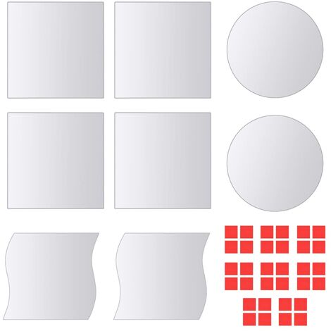Azulejos de espejo de diversas formas vidrio 16 unidades
