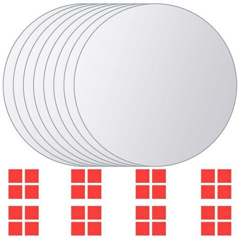 Azulejos de espejo redondos vidrio 8 unidades