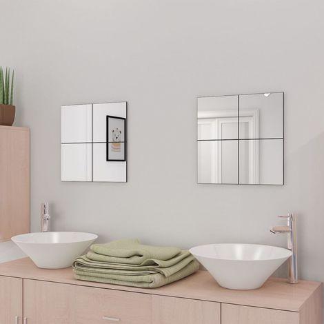Azulejos de espejo sin marco vidrio 20,5 cm 16 unidades