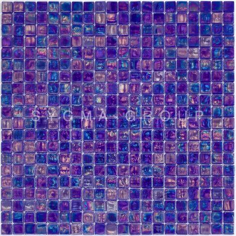 """main image of """"azulejos de mosaico de vidrio azul iridiscente para el suelo o la pared Imperial Petrole"""""""