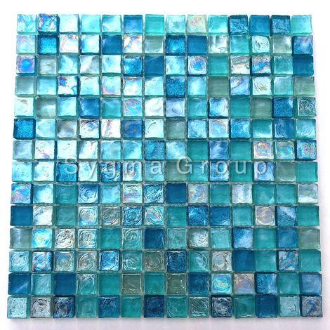 azulejos de vidrio azul y mosaico para el baño y la cocina Arezo Turquoise