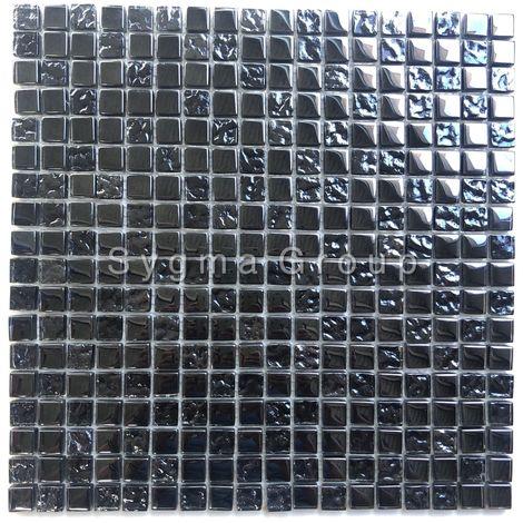 Azulejos de vidrio negro iridiscente y malla mosaico para la cocina y el baño Kerem