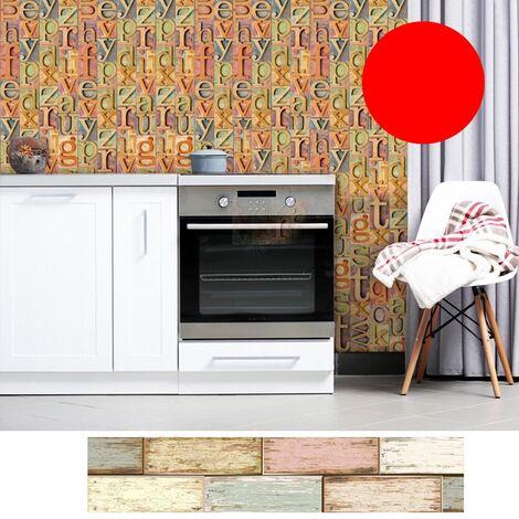 Azulejos pegatinas 1PC auto-adhesivo de madera del grano retro impermeable de PVC desprendibles de la pared Las etiquetas engomadas DIY Fondos de Cocina Bano Casa Proteccion Ordenado, 2 #