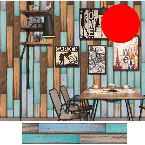 Azulejos pegatinas 1PC auto-adhesivo de madera del grano retro impermeable de PVC desprendibles de la pared Las etiquetas engomadas DIY Fondos de Cocina Bano Casa Proteccion Ordenado, 4 #