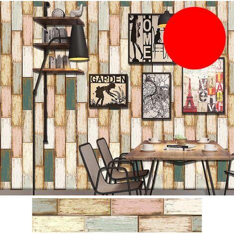 Azulejos pegatinas 1PC auto-adhesivo de madera del grano retro impermeable de PVC desprendibles de la pared Las etiquetas engomadas DIY Fondos de Cocina Bano Casa Proteccion Ordenado, 9 #