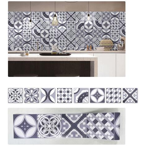 Azulejos pegatinas 1PC Retro Auto adhesivo impermeable de PVC desprendibles de la pared Las etiquetas engomadas DIY Fondos de Cocina Bano Casa Proteccion Ordenado, 4 #