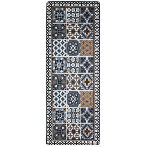 AZULEJOS VINYLE - <p>Tapis de cuisine carreaux ciment bleu foncé 45x120</p> - Bleu