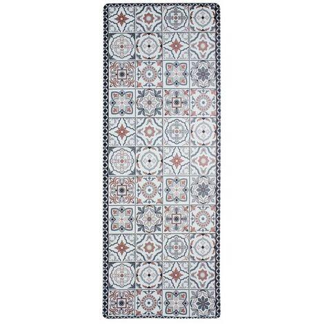 AZULEJOS VINYLE - <p>Tapis de cuisine carreaux ciment terra cotta 45x120</p> - Rouge