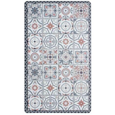 AZULEJOS VINYLE - <p>Tapis de cuisine carreaux ciment terra cotta 45x75</p> - Rouge