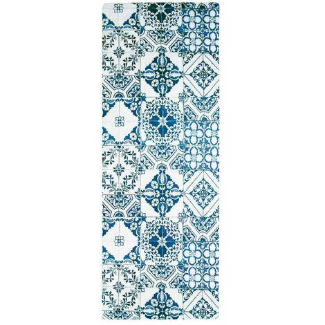 AZULEJOS VINYLE - <p>Tapis de cuisine carreaux de ciment bleu 45x120</p> - Bleu