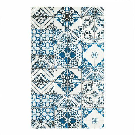 AZULEJOS VINYLE - <p>Tapis de cuisine carreaux de ciment bleu 45x75</p> - Bleu
