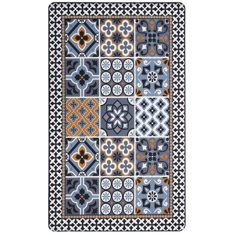 AZULEJOS VINYLE - <p>Tapis de cuisine carreaux de ciment bleu foncé 45x75</p> - Bleu