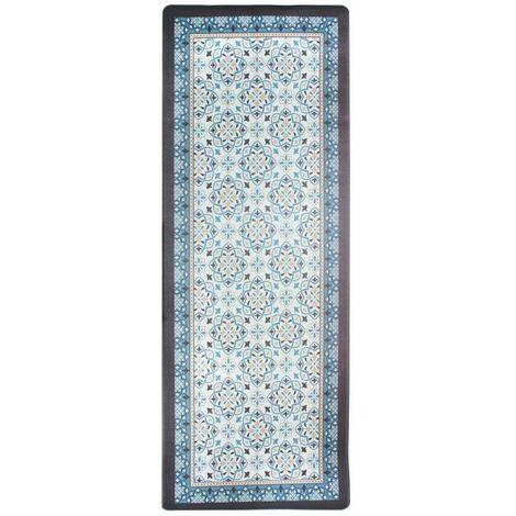 AZULEJOS VINYLE - <p>Tapis de cuisine carreaux de ciment bleu gris 45x120</p> - Bleu