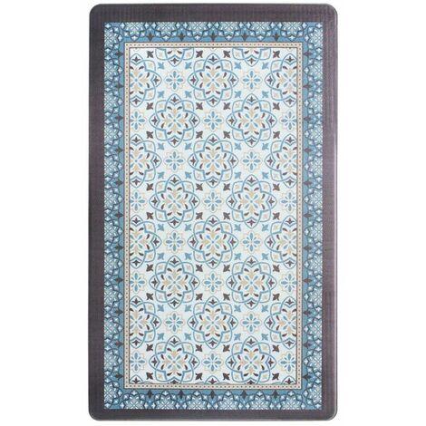 AZULEJOS VINYLE - <p>Tapis de cuisine carreaux de ciment bleu gris 45x75</p> - Bleu
