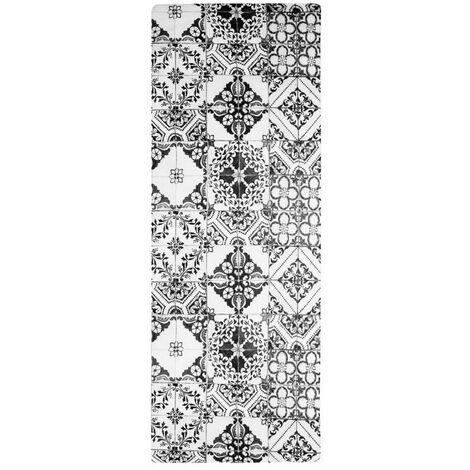AZULEJOS VINYLE - <p>Tapis de cuisine carreaux de ciment noir 45x120</p> - Noir