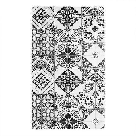 AZULEJOS VINYLE - <p>Tapis de cuisine carreaux de ciment noir 45x75</p> - Noir