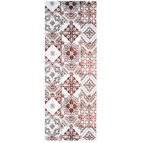 AZULEJOS VINYLE - <p>Tapis de cuisine carreaux de ciment rouge 45x120</p> - Rouge