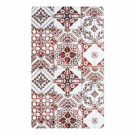 AZULEJOS VINYLE - <p>Tapis de cuisine carreaux de ciment rouge 45x75</p> - Rouge