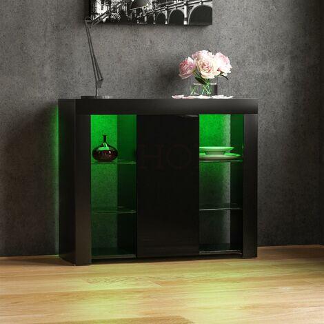 Azura 1 Door Large LED Sideboard, Black
