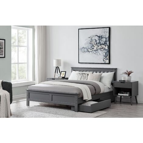 Azure Modern Grey Solid Pine Double Bed