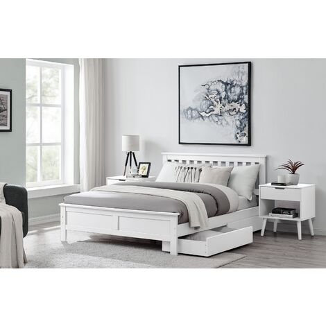 Azure Modern White Solid Pine Double Bed
