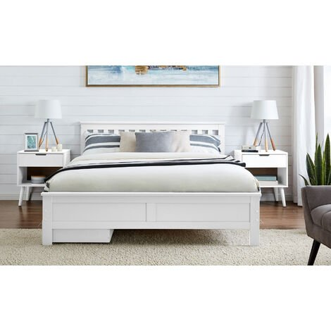 Azure Modern White Solid Pine King Bed