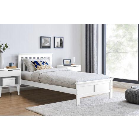 "main image of ""Azure Modern White Solid Pine Single Bed + Windsor Mattress"""