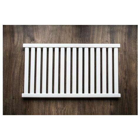 AZURE - Radiateur eau chaude design horizontal Acier 54x98 cm Puissance 571 W - Radiateur 16 lames chauffage central Entraxe 500mm - Blanc