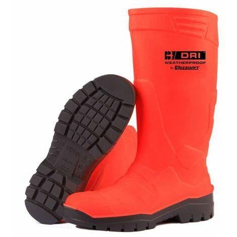 "main image of ""B-Dri Footwear FULL SAFETY FLUORO WELLINGTON BOOT OR 07/41 (Pair)"""