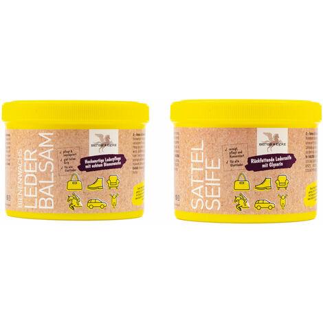 B & E Leder Pflege 2 x 500 ml - Bienenwachs-Lederpflege-Balsam + Sattelseife mit Schwamm