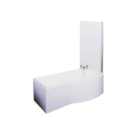 B Shape Shower Bath 1700 mm with Shower Screen and Panel Right Hand
